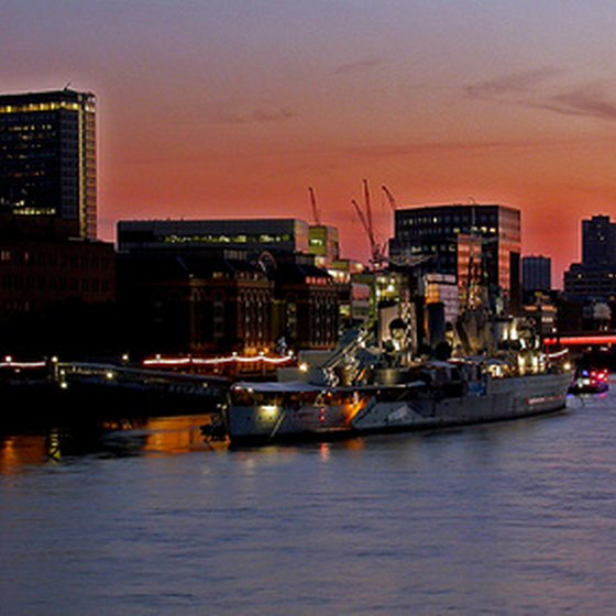 A sunset view of London from the River Thames.
