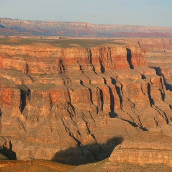 The Grand Canyon exhibits a colorful display of different rock formations.