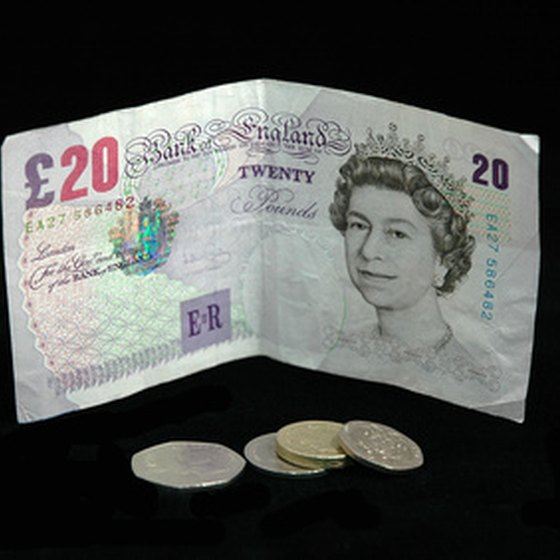 A British 20-pound note and change