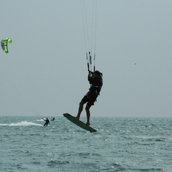 With the right wind, kiteboarders move fast.