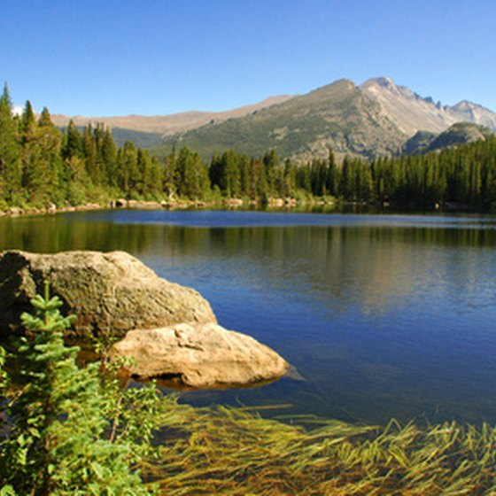 Mountains and lakes provide stunning views at Rocky Mountain National Park.