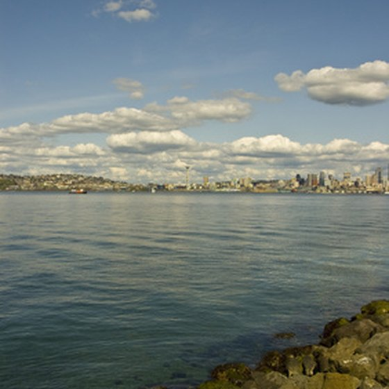 Seattle and Bremerton line the shores of central Puget Sound.