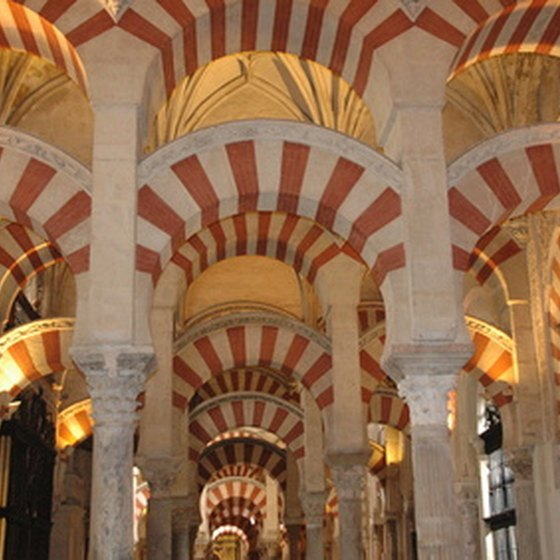 Double-tiered Moorish arches provide support to the Mezquita in Cordoba.