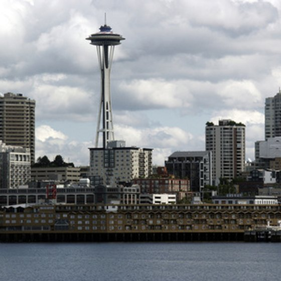 The Space Needle offers sweeping views of Seattle and its suburbs.