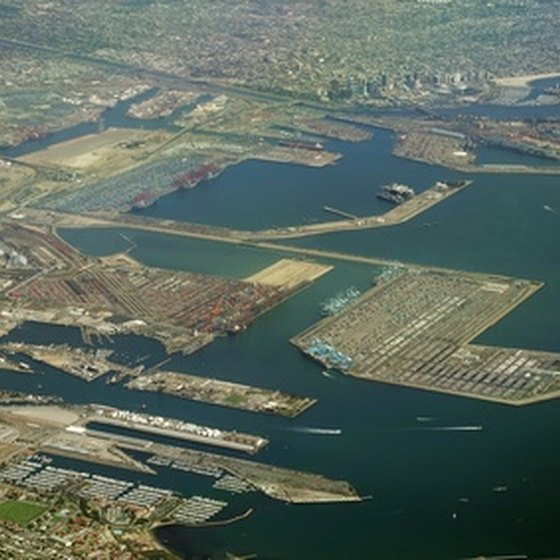 A aerial view of downtown Long Beach and the port