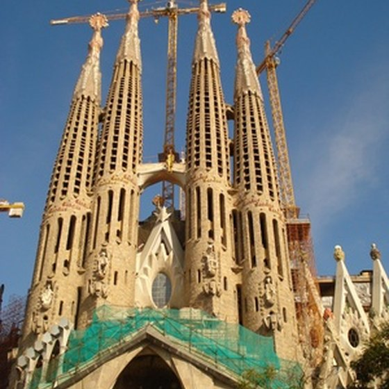 La Sagrada Familia is one of Gaudi's most famous architectural works in Barcelona, Spain.