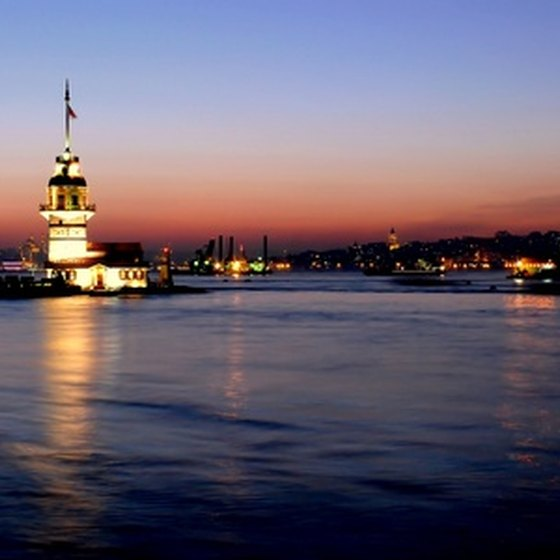The Girl's Tower in Istanbul is especially beautiful at night.