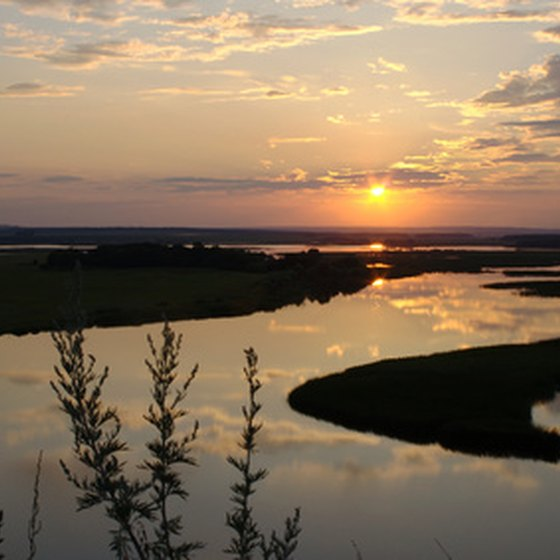 Sunset over the Volga, the longest river in Europe