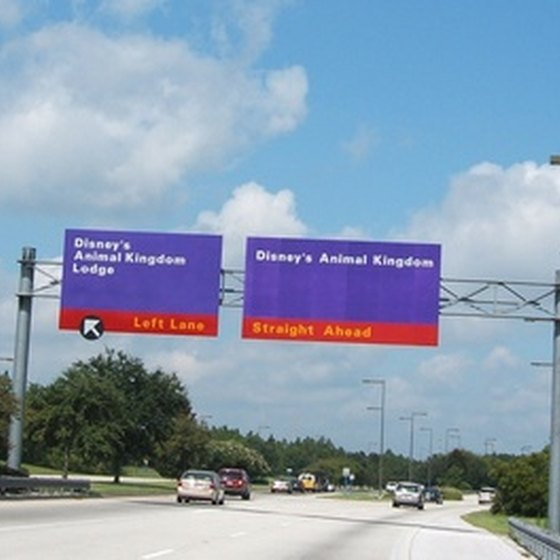 Road signs on the way to Disney World.