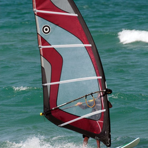 Windsurfing is just one of many water activities in San Diego.