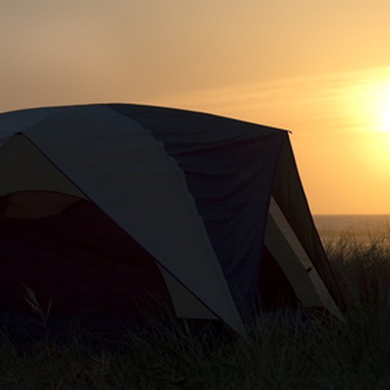 Camping under the setting sun.