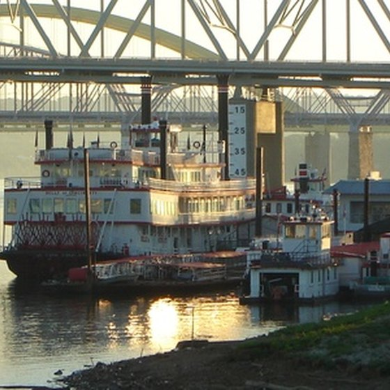 Modern reproductions of historic riverboats traverse the mighty Mississippi River.
