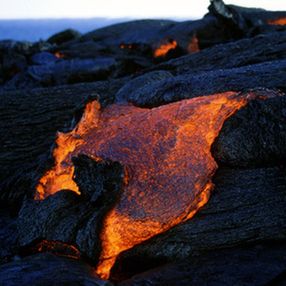 Kilauea Volcano continually spews molten lava from its Puu Oo vent.