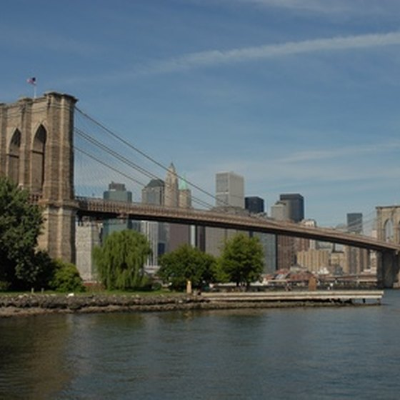 A boat tour around Manhattan will take you underneath the legendary Brooklyn Bridge