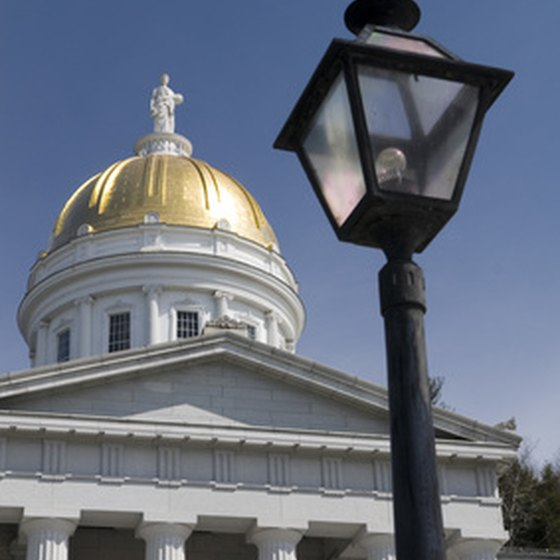 Vermont's gold-domed state house located in Montpelier