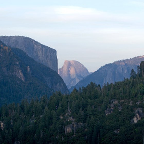 Half Dome (center) is one of Yosemite's most famous granite formations.