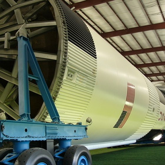 Visitors to the Space Center Houston are able to view a Saturn rocket as part of the daily tram tour.