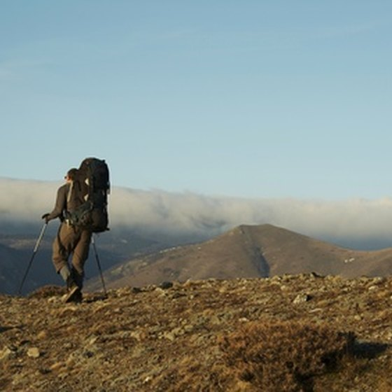 A backcountry hiker using his trekking poles