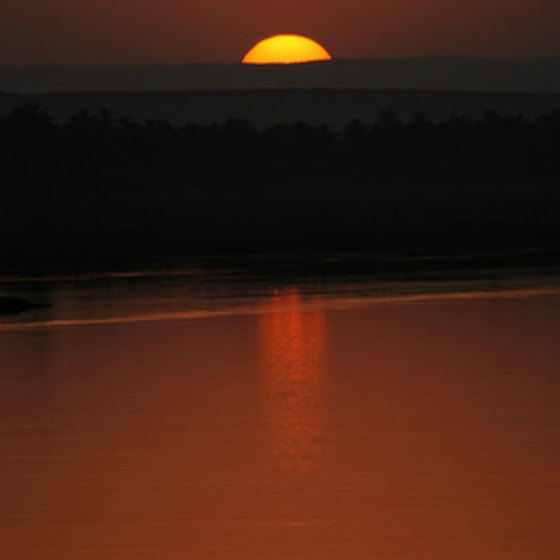 The sun setting on the River Nile.