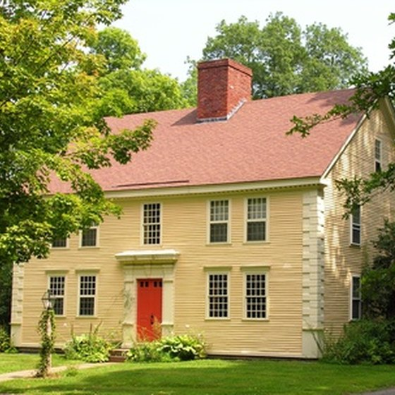 A vintage New England colonial house
