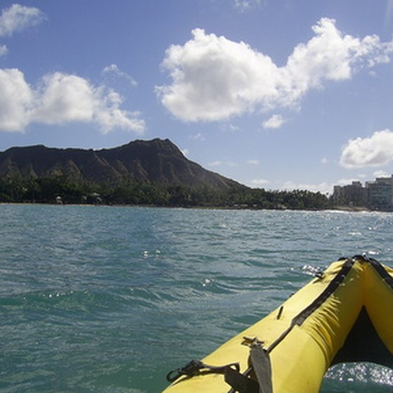 The view of Diamond Head from a kayak.