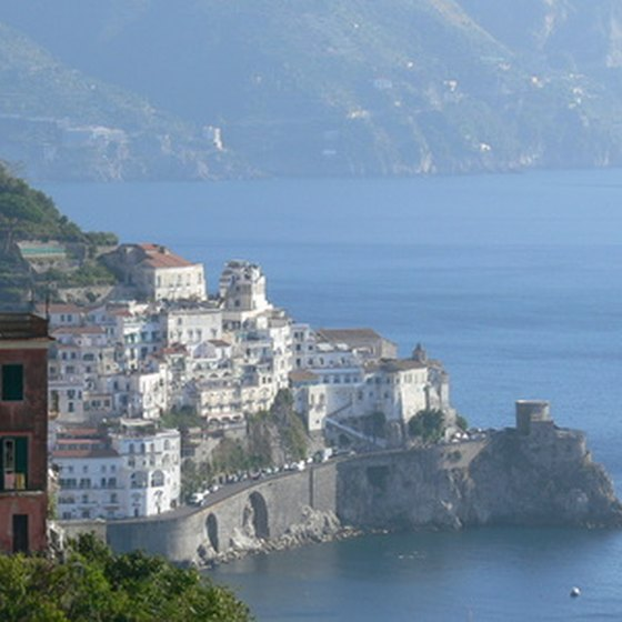 The Amalfi Coast in southern Italy slopes steeply into the Tyrrhenian Sea.