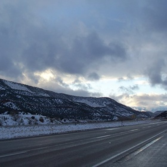 Snowy roadside in Utah
