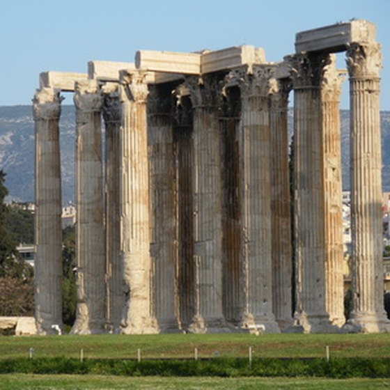 The Temple of Zeus sits in the middle of Athens.