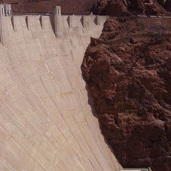 Hoover Dam towers 726 feet above the Colorado River.