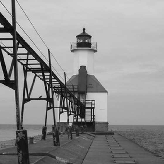 Lighthouses are often featured along the coastal areas of Michigan's parks.