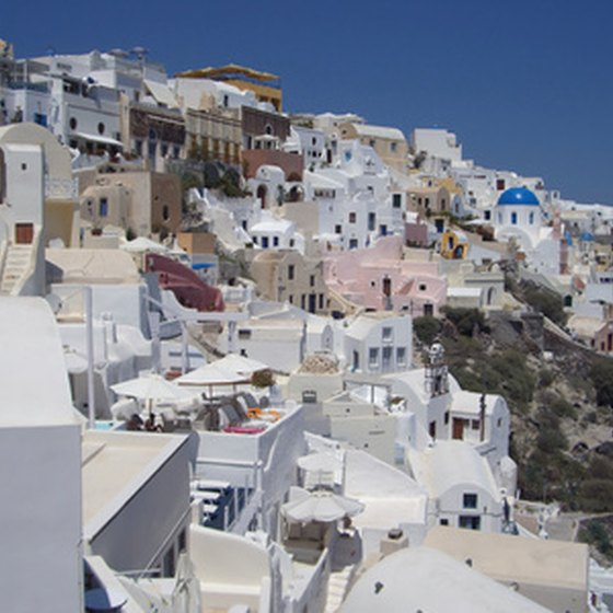 A cliffside town on Santorini Island.