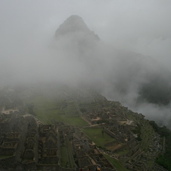 Machu Picchu covered in mist.