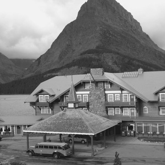 An historic view of the Lake McDonald Lodge.