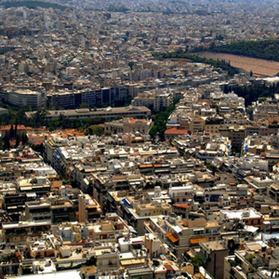 A view of Athens from above.