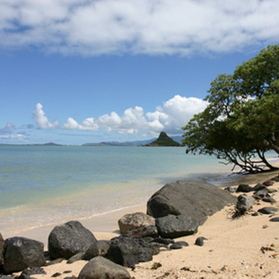 Distant view of Chinaman's Hat on Oahu.