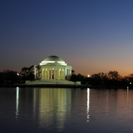 Lights illuminate the white marble of the Jefferson Memorial