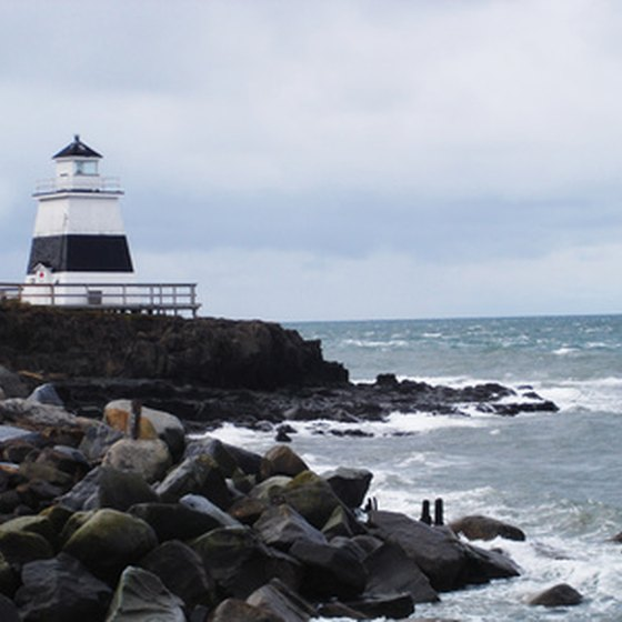 A lighthouse overlooks Nova Scotia's rugged coastline.