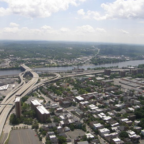 An aerial view of downtown Albany facing the Hudson River.
