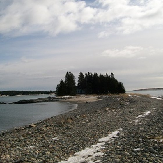 Maine's coastal areas have both rocky and sandy shorelines.