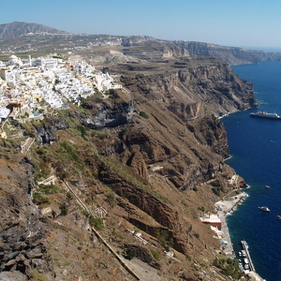 The Greek island of Santorini, a port of call for several American cruise lines.