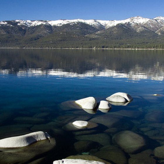 The Sierra Nevada Mountains provide an impressive backdrop to the blue waters of Lake Tahoe.