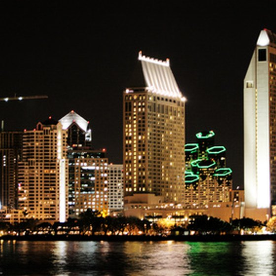 The San Diego skyline at night