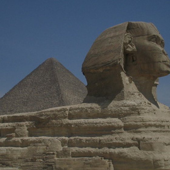 The Sphinx of Giza sits near the Great Pyramids in Giza.