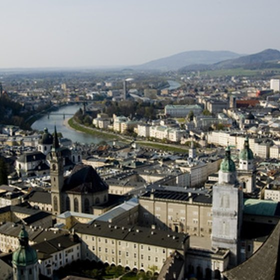 Salzburg city center is bisected by the winding Salzach River.