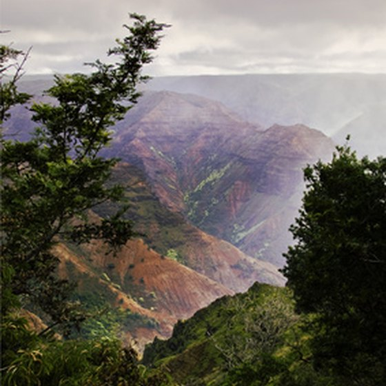 The island of Kauai is mountainous and densely vegetated.