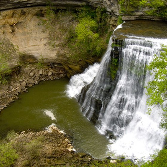 Bridal-veil patterns adorn 60-foot-high Brandywine Falls, with the Inn at Brandwine Falls located nearby.