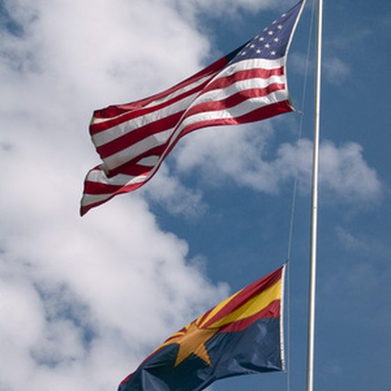 The Arizona and American flags.
