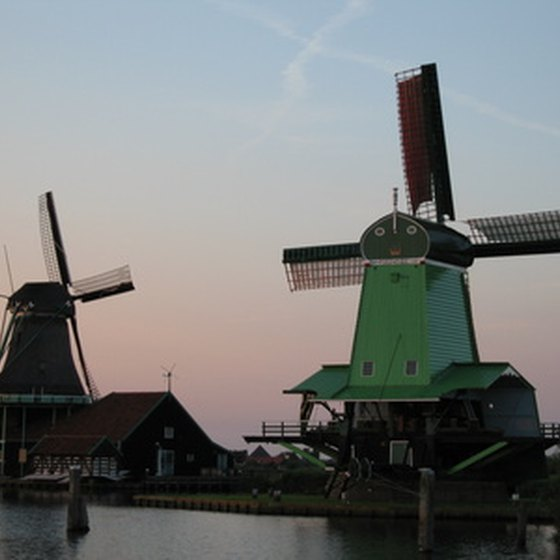 Windmills in the Dutch countryside