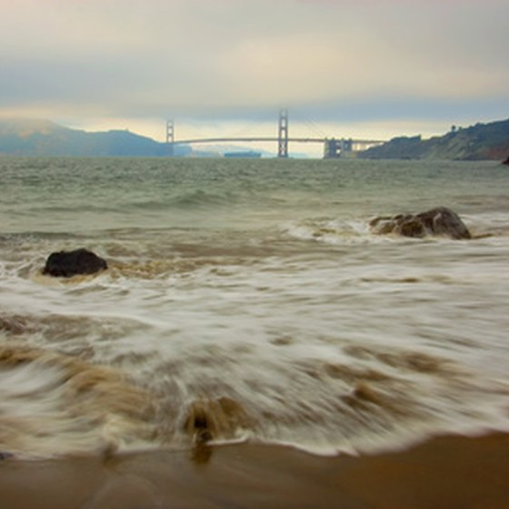 Views of the Golden Gate Bridge from the East Bay shoreline.