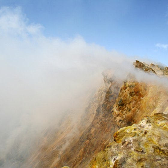 Volcanic fumaroles are a regular sight on a Balinese hike.